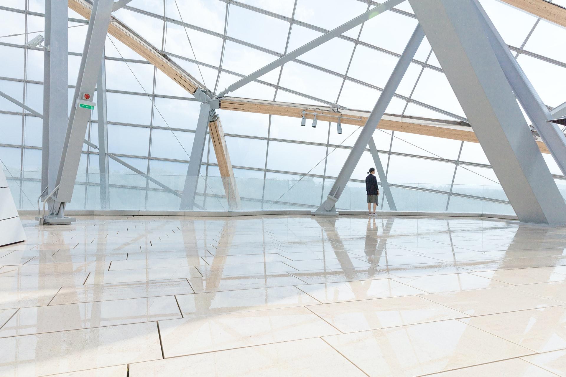 Architecture inside the Fondation Louis Vuitton in Paris