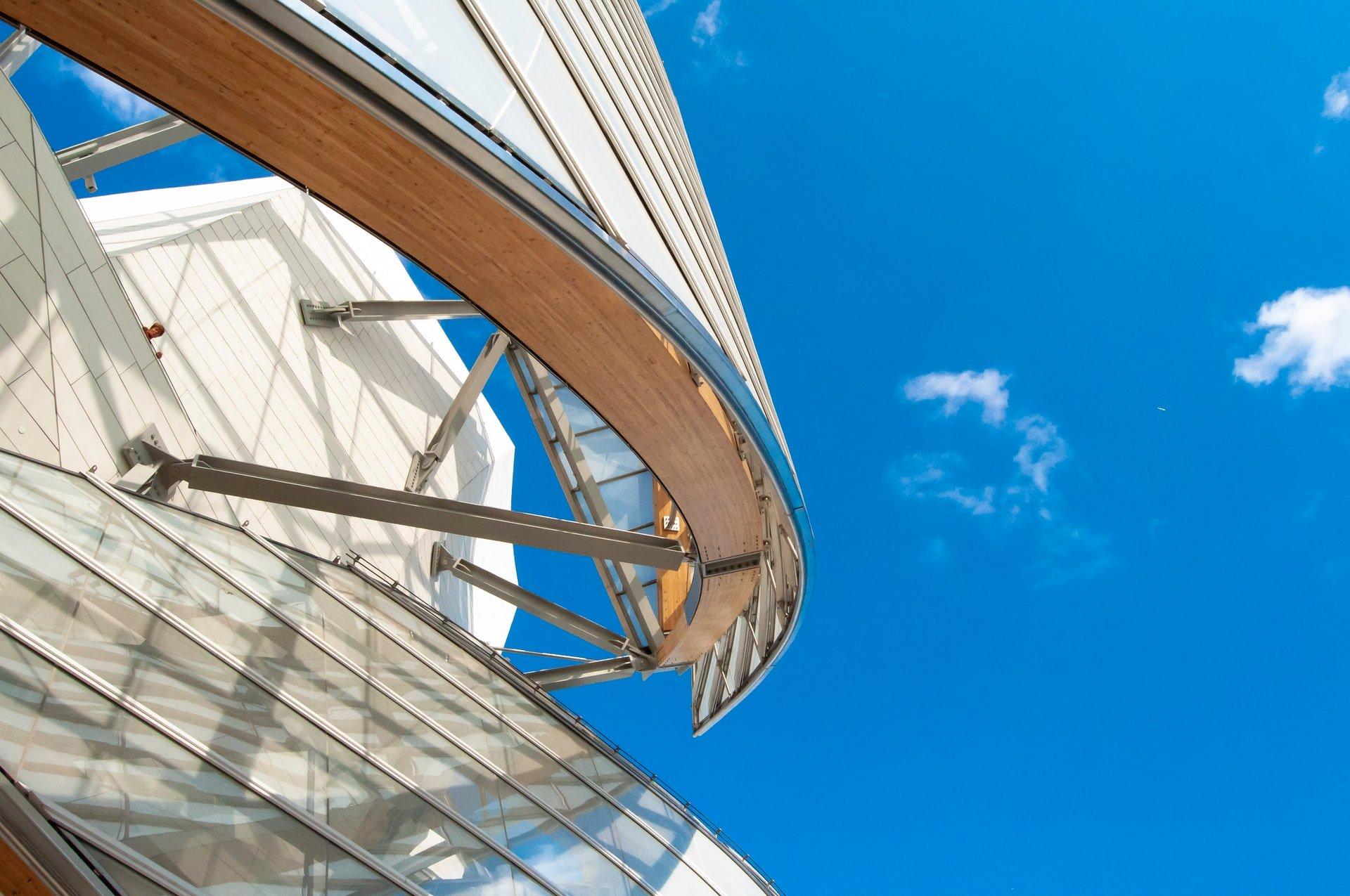 Fondation Louis Vuitton exterior architecture in Paris park