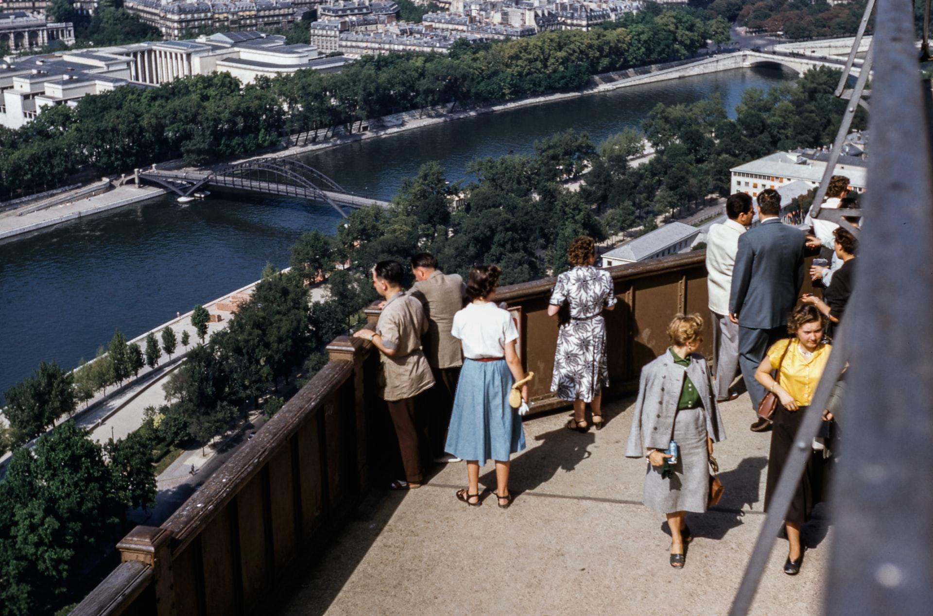 Historic photo of Eiffel Tower platform
