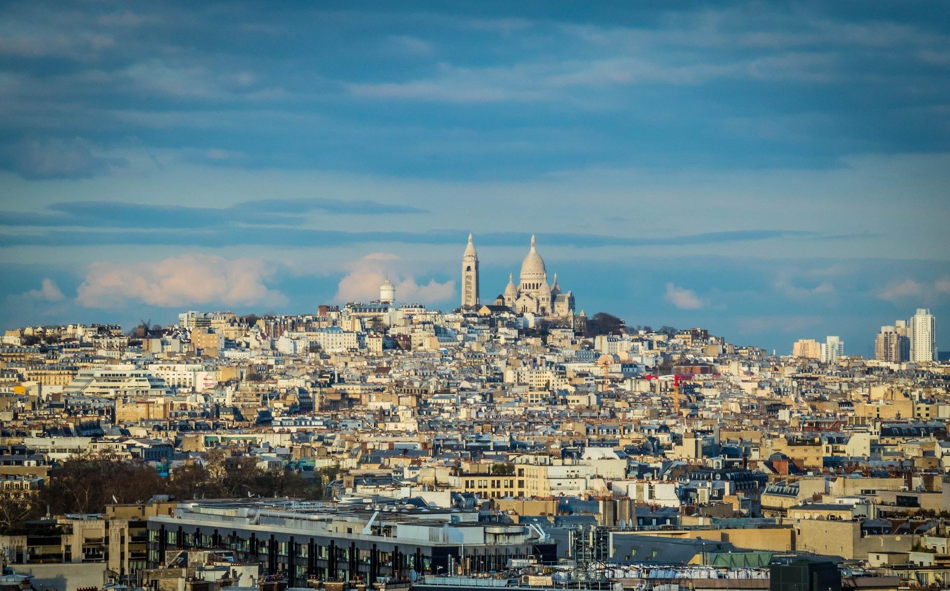 Sacré-Coeur Basilica at Montmartre seen on the Paris skyline