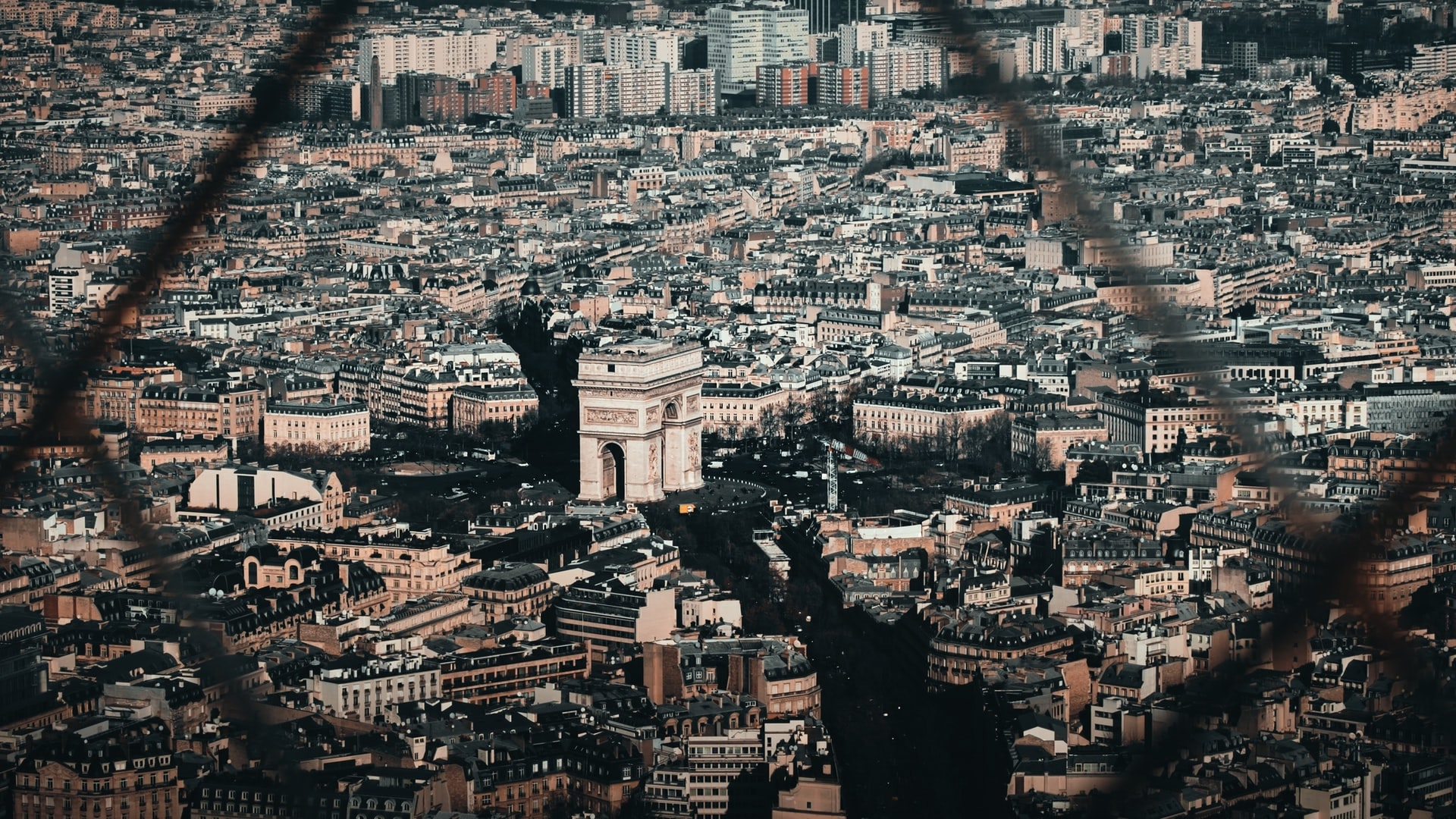 The Arc de Triomphe seen from the Eiffel Tower