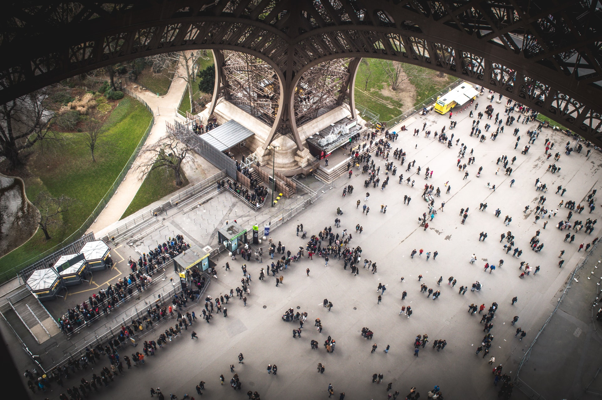 View of the forecourt below the Eiffel Tower from the first floor