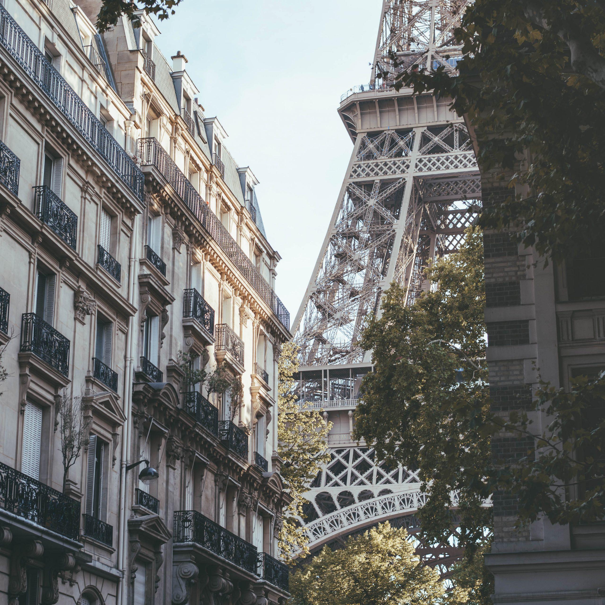 Best view of the Eiffel Tower from Rue de l'université
