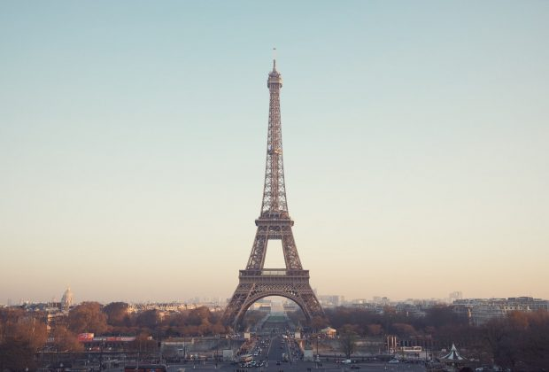 View of the Eiffel Tower over Paris