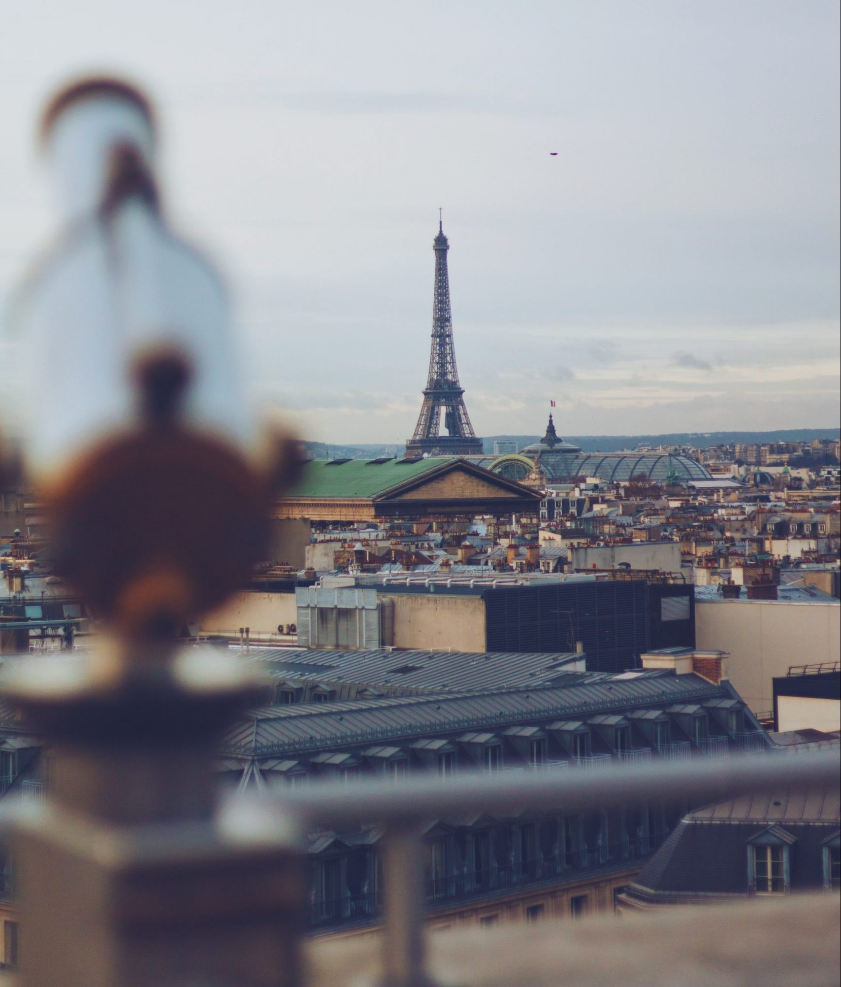 Lookout from the roof of the Galeries Lafayette mall in Paris with Eiffel Tower in distance
