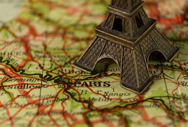 Eiffel Tower souvenir on map of Paris