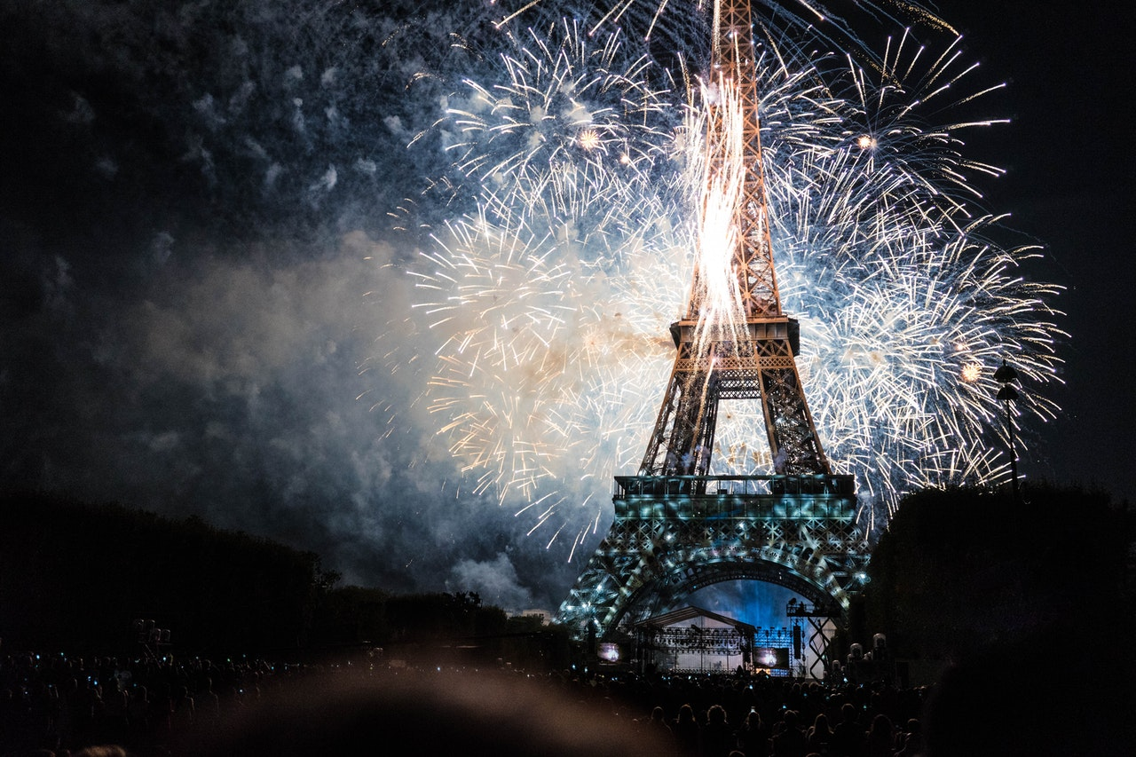 Eiffel Tower Lit by Fireworks at Night