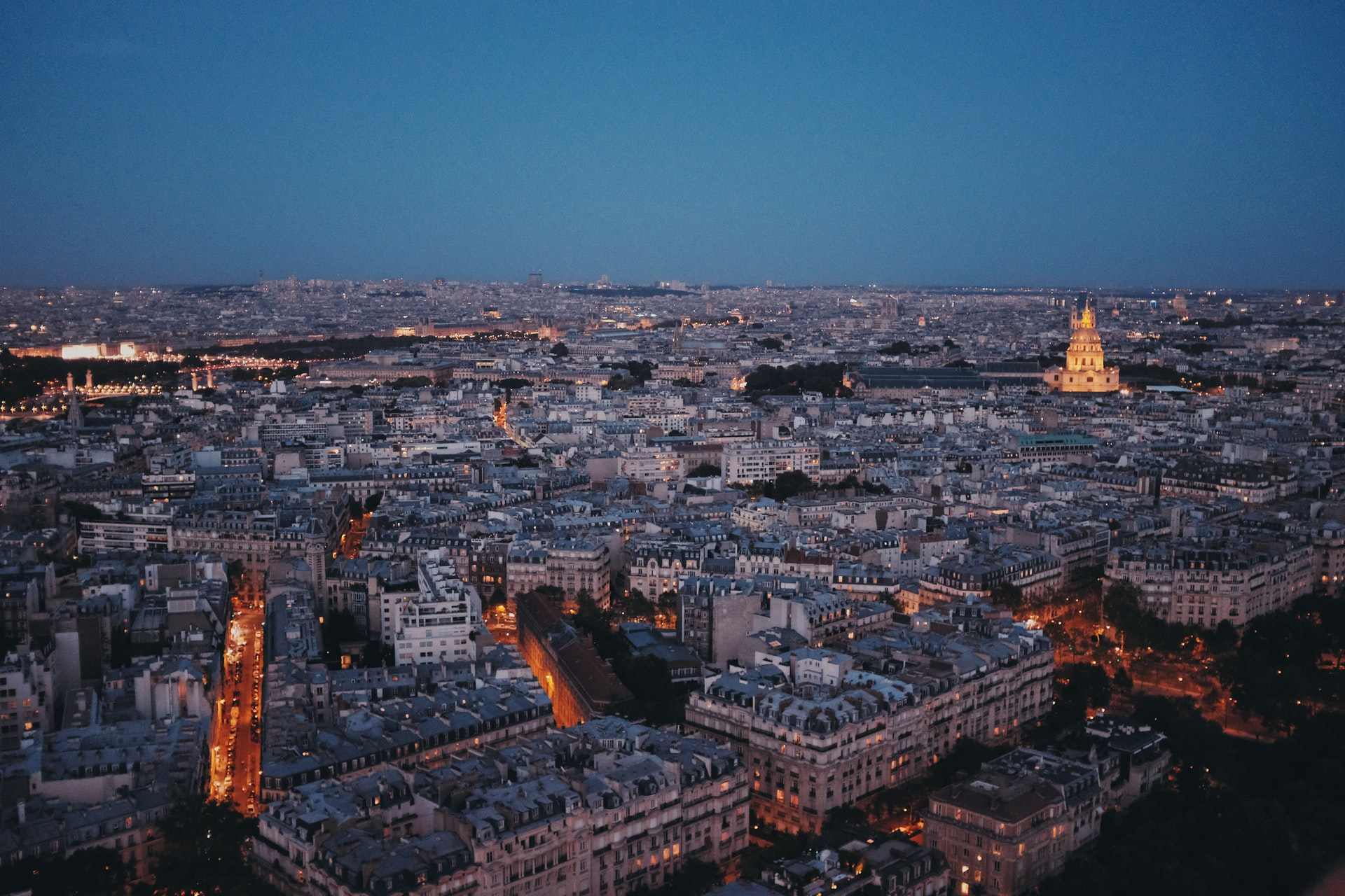 Night view from the Eiffel Tower