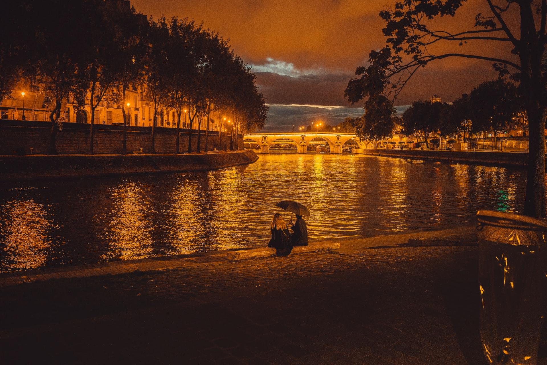 Seine River after sunset